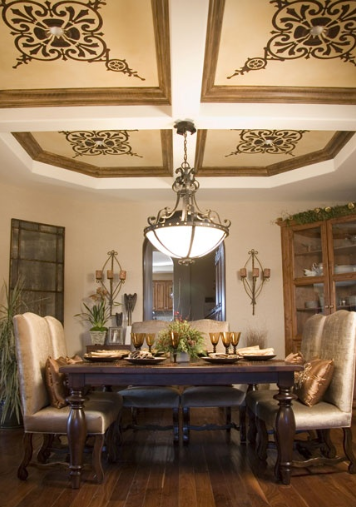 Coffered Ceiling with Decorative Details