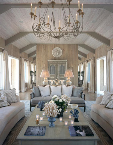Wood on Ceiling with Beams