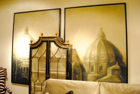Gorgeous prints in the Ebanista showroom! Architecture of Naples and France