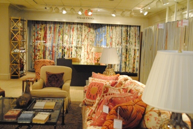 Here's something you don't see much anymore! Glazed chintz in the Brunschwig & Fils showroom