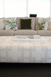 I loved the fabric used on this ottoman!