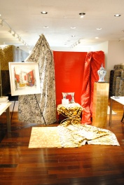 Vignettes by designer Harry Heissmann and artwork by Jeremiah Goodman in the Stark Fabric showroom