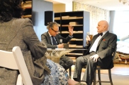 Chatting with famed room rendering painter Jeremiah Goodman and Elle Decor Interiors Editor Robert Rufino in the Stark Fabric showroom