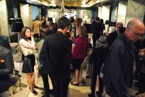 A crowd gathers in the Donghia showroom