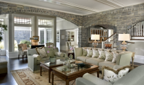 "This sitting room just screams ""casual elegance""--the use of the stone walls is perfect!"