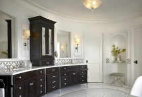 How wonderful is this curved bathroom vanity?