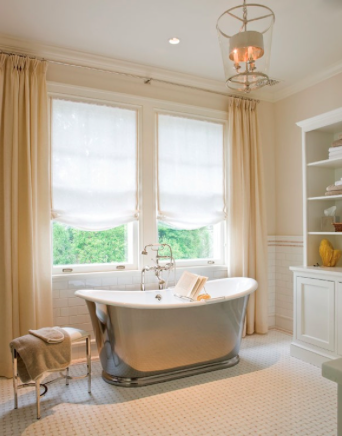 I could bathe here. Very subtle peach color with subway tile