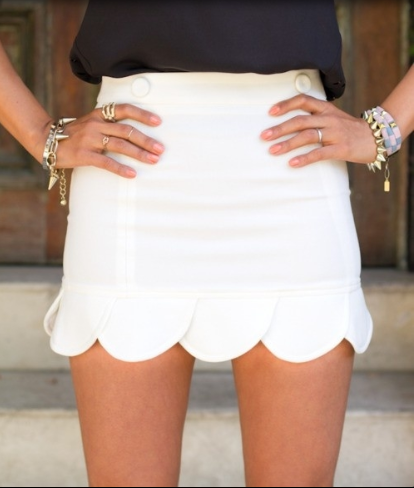 scalloped skirt, Navy & gold jewelry