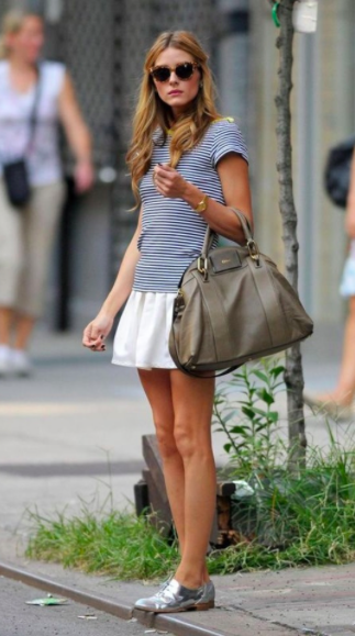 Stripes with a cute ruffled skirt & silver shoes!