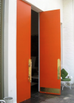 orange brass door