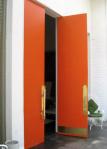 orange brass door