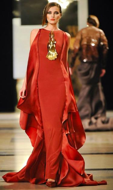 orange brass gown necklace