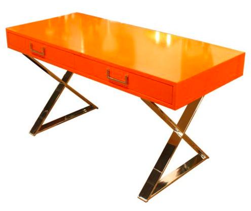 Orange Brass Campaign Desk