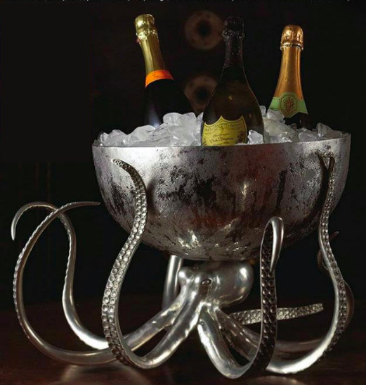 octopus wine bottle server table entertain