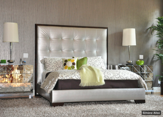 glitz, glam, mirrored furniture, silver, bedroom, 1970