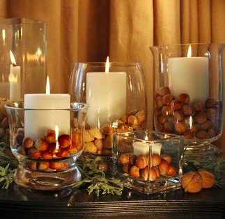 candles mood light fall acorns