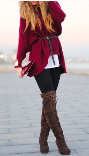 Gorgeous Merlot sweater cinched at the waist!