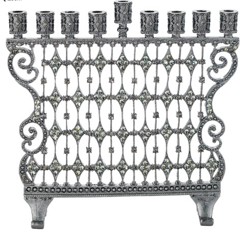 This Pewter Cami Memorah is cast pewter with hundreds of hand-set gray Swarovski® crystals. It is a stunning piece and would be a wonderful additonal to any holiday! It would also make a beautiful and memorable gift. It comes in a beautiful gift box!