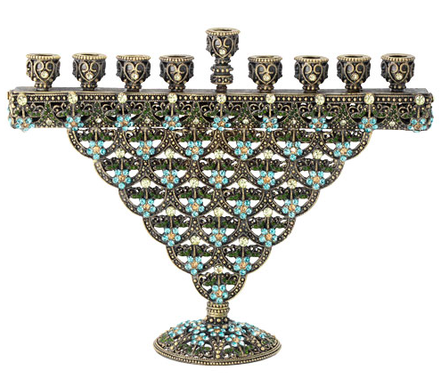 Sinclair Menorah is made of cast pewter in antique brass finish with hundreds of hand-set light sapphire, olivine, jonquil, and topaz Swarovski crystals. This is such a beautiful piece. What a lovely addition to your holiday that can be passed on for generations. This would make a special gift.
