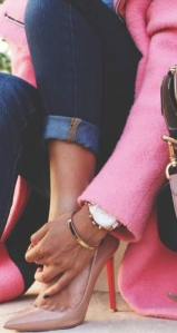 Love the Nude pumps with the bright pink coat and the dark denim jeans!