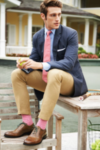 Who can forgot our guy? I love the whimsy of the pink socks.