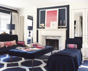 Mary McDonald got this room right! Navy and white with pops of pink still feels classic and understated.