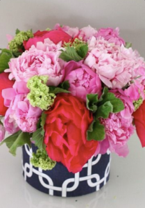 Bright flowers in a navy and white container!