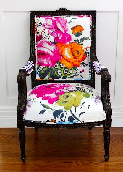 Love the bright colors, the updated contemporary scale of this floral fabric. So chic used on this classic traditional chair!