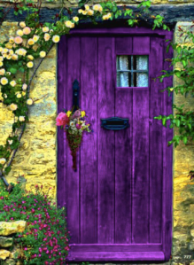 purple, color, door, flowers, garden, Europe