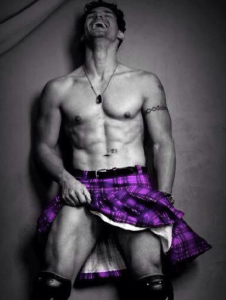 purple, kilt, sexy, man