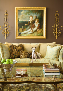 McCroskey Interiors gets a bonus when this precious whippet hops upon the sofa