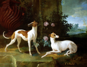 Jean Baptiste Oudry depicting two dogs belonging to the king Louis XV: Misse and Turlu.