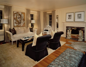 Tiffany Eastman Interiors use of the whippet in this transitional space is perfect.